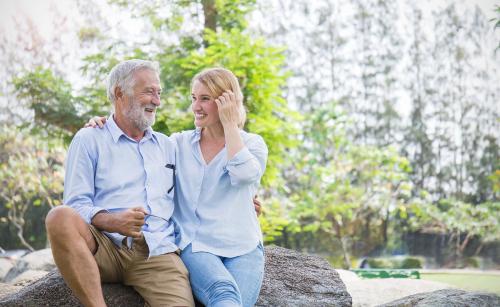 Elderly couple celebrating after Glaucoma surgery